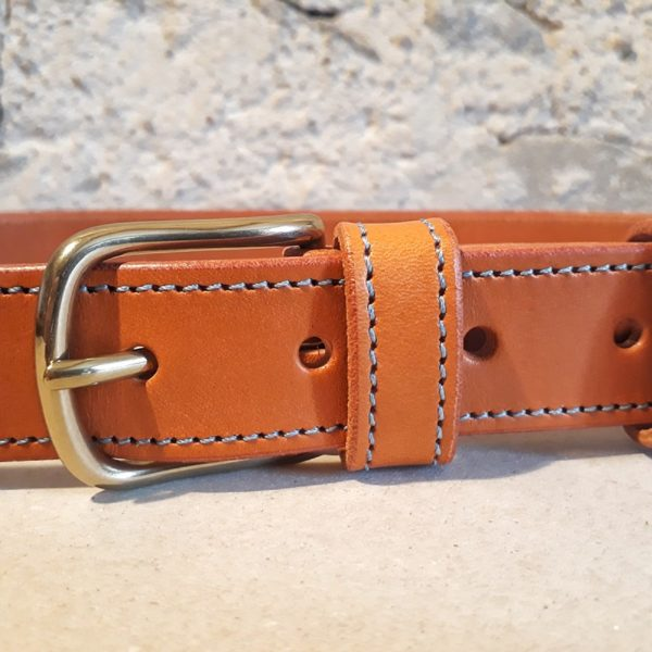 ceinture 30 mm cognac fil bleu-1
