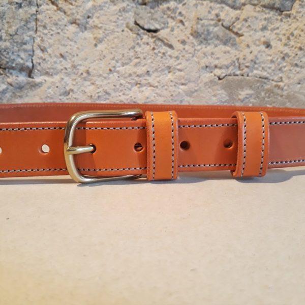 ceinture 30 mm cognac fil bleu-2