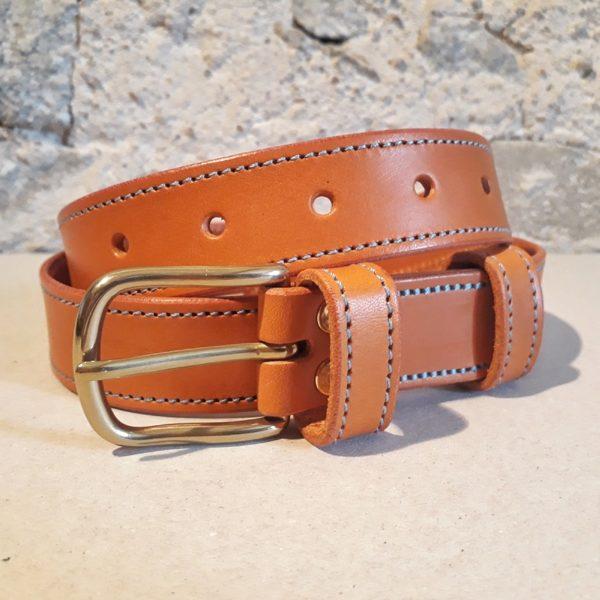 ceinture 30 mm cognac fil bleu-3