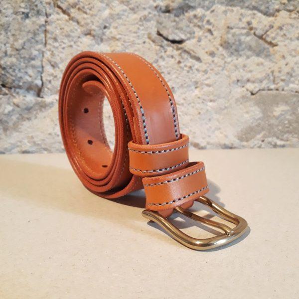 ceinture 30 mm cognac fil bleu-4