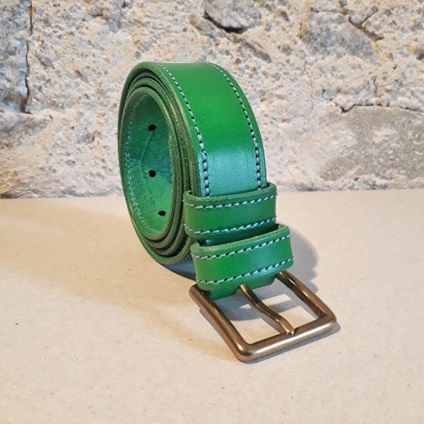 ceinture 30 mm verte fil bleu-3