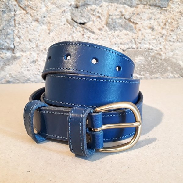 ceinture en cuir bleu jean 30 mm-3