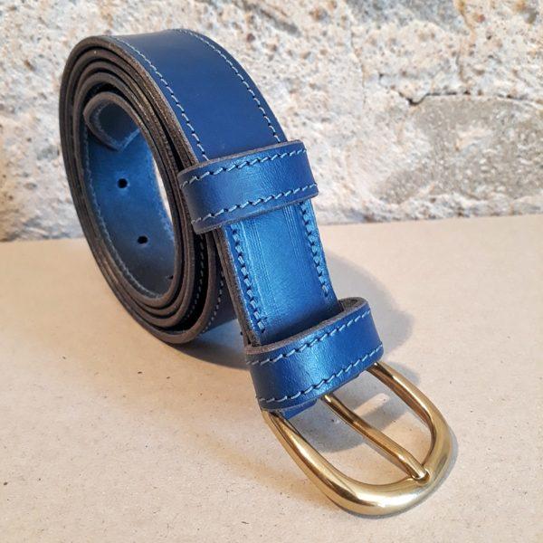 ceinture en cuir bleu jean 30 mm-4