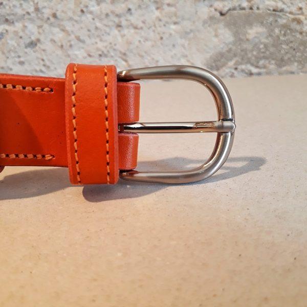 ceinture en cuir orange 30 mm-1