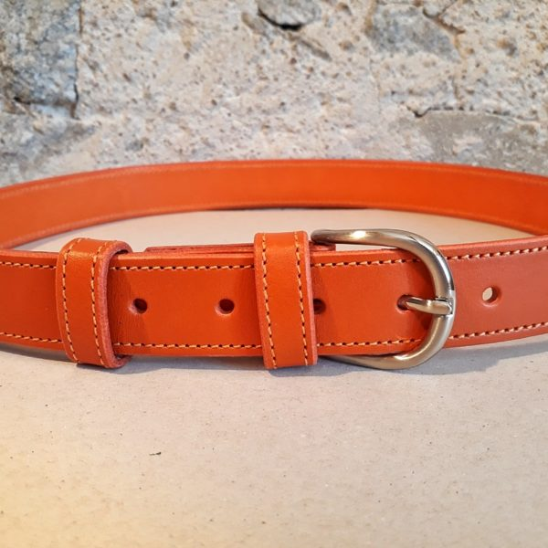 ceinture en cuir orange 30 mm-2