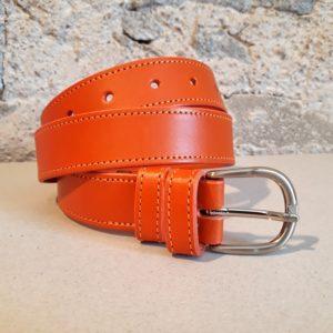 ceinture en cuir orange 30 mm-3