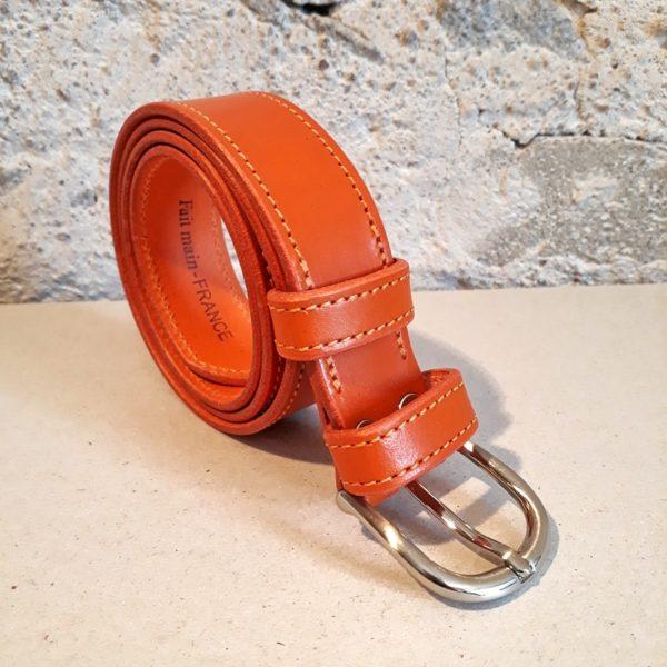 ceinture en cuir orange 30 mm-4