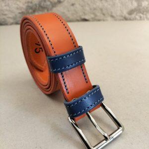 ceinture en cuir bicolore orange/bleu